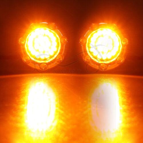 Pair Chrome 1157 Bullet Fire Ring Amber White LED Turn Signals Light For Harley