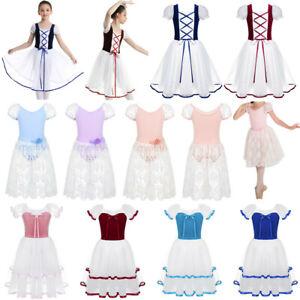 Girls-Puff-Sleeves-Ballet-Dance-Dress-Kids-Leotard-Tutu-Long-Skirt-Party-Costume
