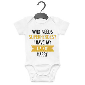 MY DADDY IS AWESOME PERSONALISED BABY GROW VEST CUSTOM FUNNY GIFT CUTE