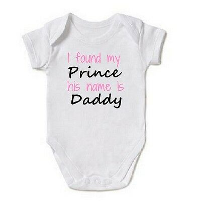 I FOUND MY PRINCE Baby Vest grow bodysuit cute shower gift new Girls Daddy