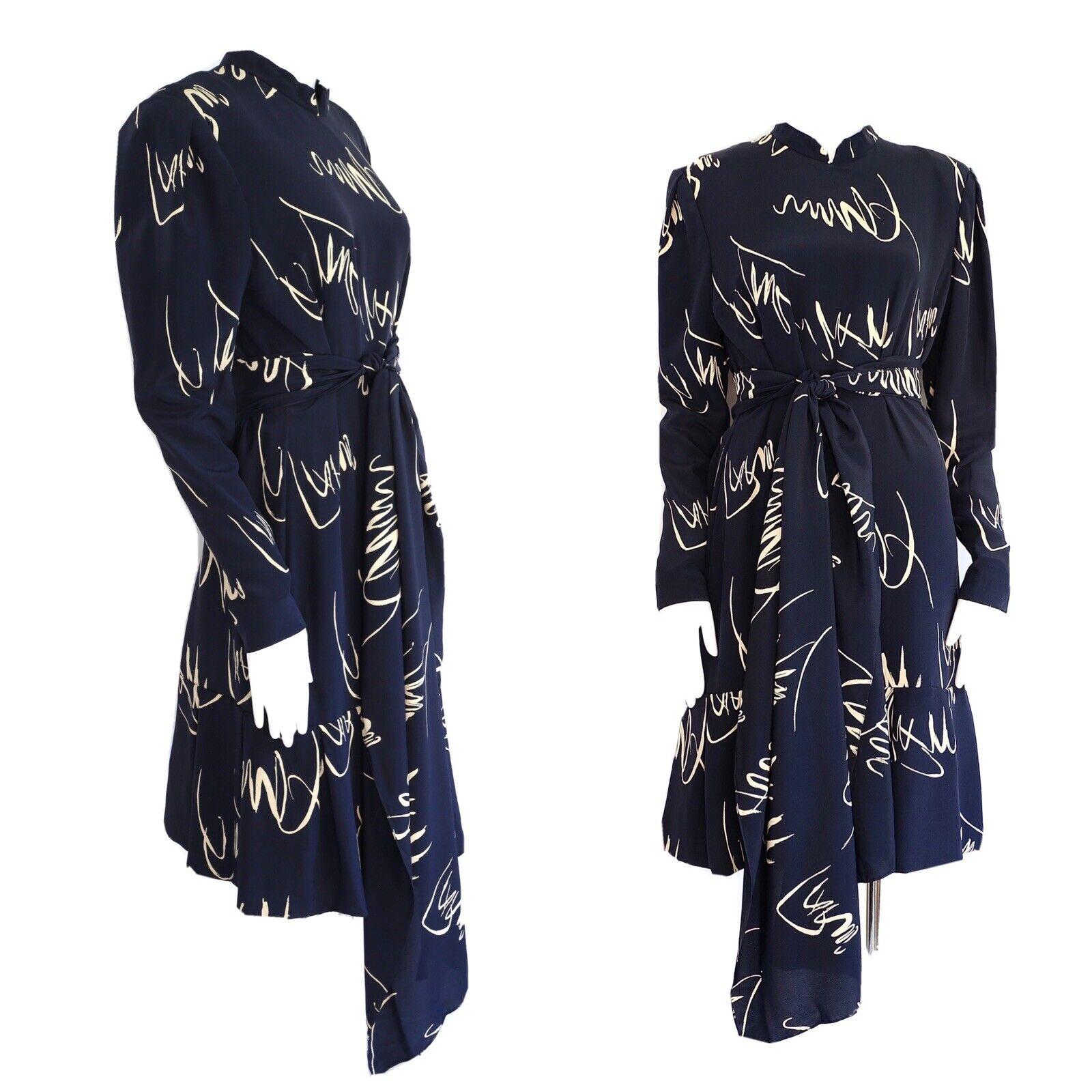 vintage 80s Pauline Trigere navy print silk dress… - image 1