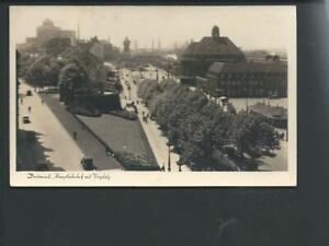 DORTMUND << Hauptbahnhof m. Vorplatz v. oben m. Straßenbahn....>> s/w AK kl