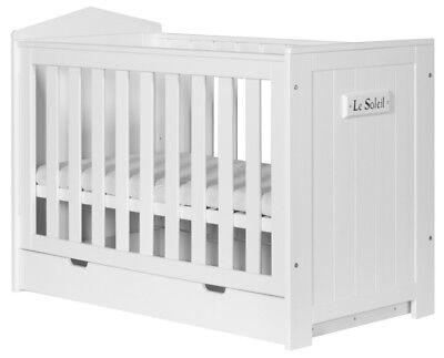 Babybett Kinderbett Marseille mit Schublade Kiefernholz 60 x 120 cm PINIO