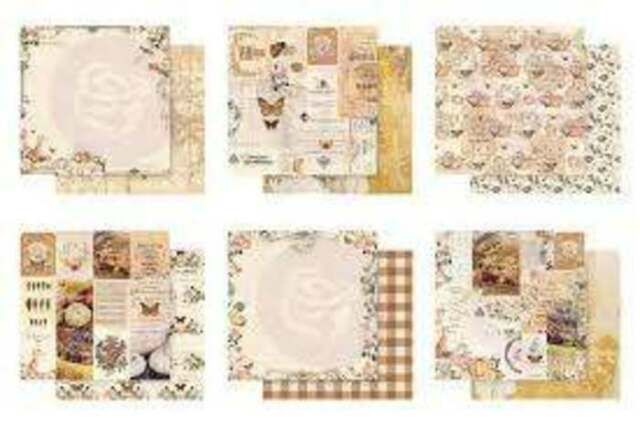 Havana 12x12 Paper Collection Double-sided Pink Gold Foil Prima 6 Sheets