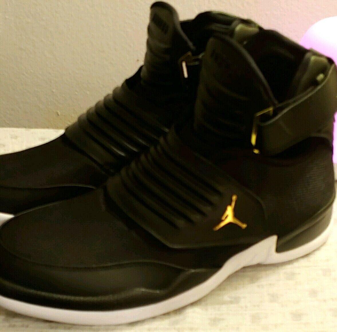 Mens Nike Air JORDAN GENERATION 23,  BLACK-WHITE-METALLIC gold, 13D(M) US
