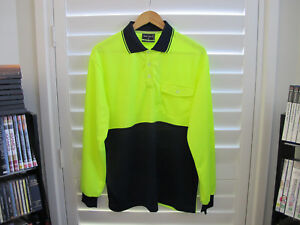 4-x-Mens-Hi-Vis-Workwear-Long-Sleeve-Polo-Shirts-Safety-Contrast-M-XL-2XL