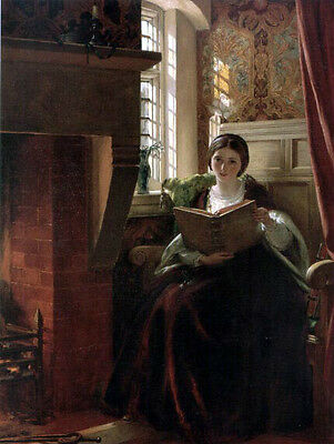 Oil painting female Hand painted A Pleasant Corner - Nice young girl reading