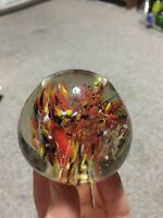 Art Glass Paperweight Multi-Color Vintage Marble Look Hand Blown Paper Weight