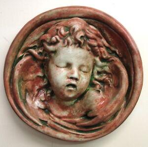Vintage Angel Cherub Round Wall Sculpture Classical Greek Art