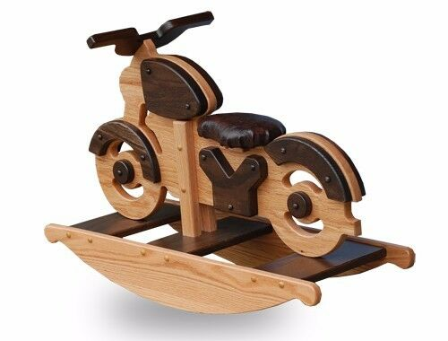 Amish Made Wooden Motorcycle Rocking Horse Kids Toy Natural Oak//Walnut Stains
