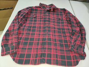 Mens-POLO-RALPH-LAUREN-Long-Sleeve-FLANNEL-Button-Shirt-Black-Red-Plaid-Large-L
