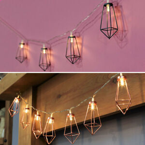 Indoor Battery Power Rose Gold Grey Cage Fairy Lights Led