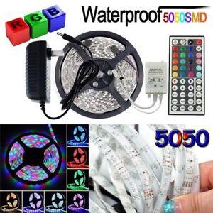5M-5050-RGB-Waterproof-LED-Strip-Light-SMD-44-Key-Remote-12V-Power-Supply