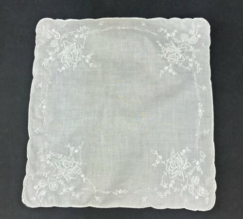 Vintage Madeira Style Bridal Wedding White Hankie Hand Embroidered Rose Flower