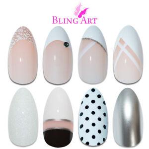 Bling-Art-Almond-False-Nails-White-Fake-French-Manicure-Glitter-Medium-Tips-Glue