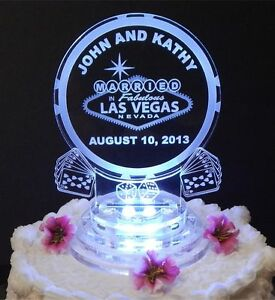 Image Is Loading Led Las Vegas Lighted Wedding Cake Topper Acrylic
