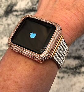 official photos ebd19 a6f11 Details about 42mm Rose Gold Lab Diamond Apple Watch Bezel Case Cover Metal  iwatch 2 /3