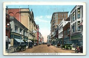 Rochester-NY-EARLY-1900s-SOUTH-CLINTON-STREET-SCENE-OLD-CARS-POSTCARD