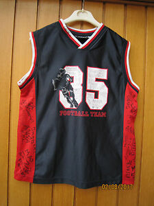 """WXI Fußball-Trikot Shirt Gr.S/164 - """"35 Football Team"""" ärmellos Schwarz-Rot-Weiß - Deutschland - WXI Fußball-Trikot Shirt Gr.S/164 - """"35 Football Team"""" ärmellos Schwarz-Rot-Weiß - Deutschland"""