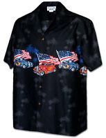 American Hot Rod Vintage Cars Patriotic Flag Hawaiian Aloha Shirt Black 440-3942