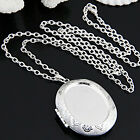 Silver Plated Oval Photo Picture Locket Pendant Necklace Chain 2x1.5""