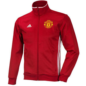 Details about ADIDAS MANCHESTER UNITED 3 STRIPES TRACK JACKET RedWhite.