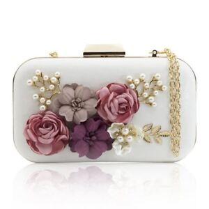 rsen-Taschen-Blume-Leder-Umschlag-Perle-Geldboerse-Abend-Handtasche-weiss-P5K9