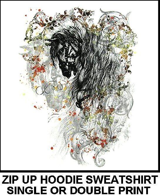 BEAUTIFUL CLASSIC CLASSY HORSE ART SHOW ZIP HOODIE SWEATSHIRT WS087