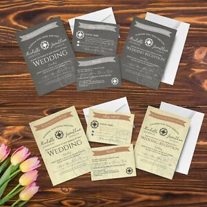 Personnalise-de-voyager-a-l-039-etranger-mariage-invitation-Set-invite-RSVP-amp-Info-cartes