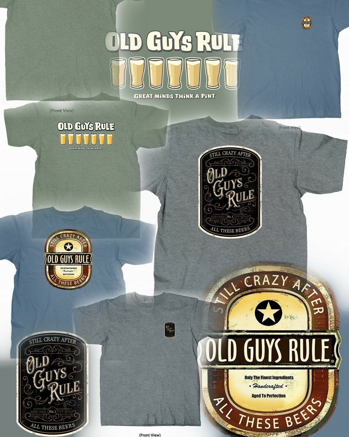 3 OLD GUYS RULE BEER THEMED T-SHIRTS SIZE M YOU GET ALL THREE