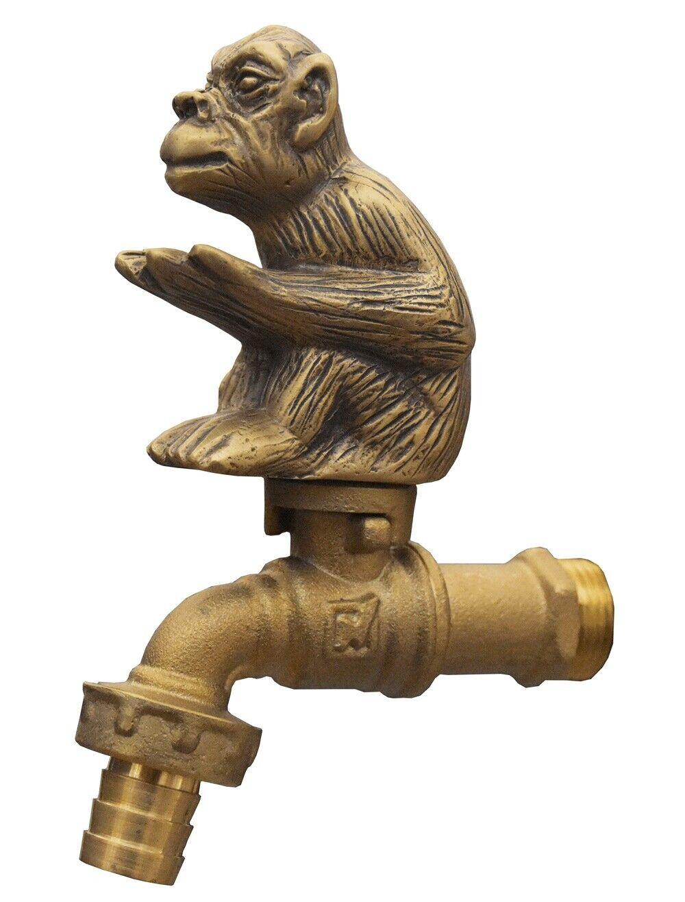 Brass Garden Faucet Tap Monkey Spigot Vintage Water Home Decor Outdoor Living
