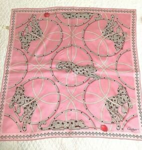 CARTIER-Signed-100-Silk-JEWELED-PANTHER-Scarf-in-PINK-Very-Very-RARE-w-Tag-MINT