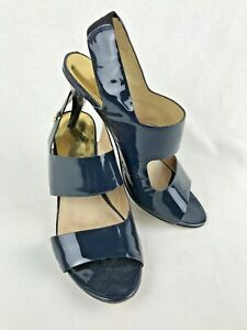 MICHAEL-KORS-Women-039-s-Navy-Blue-Slip-On-Heeled-Sandals-Shoes-Size-9-5-M