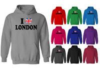 Mens I Love London Union Jack Heart Flag Pullover Hoodie NEW XS-XXL