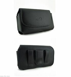 Horizontal-Black-Leather-Case-Pouch-Sideways-Clip-Cover-Belt-Loop-for-Cell-Phone