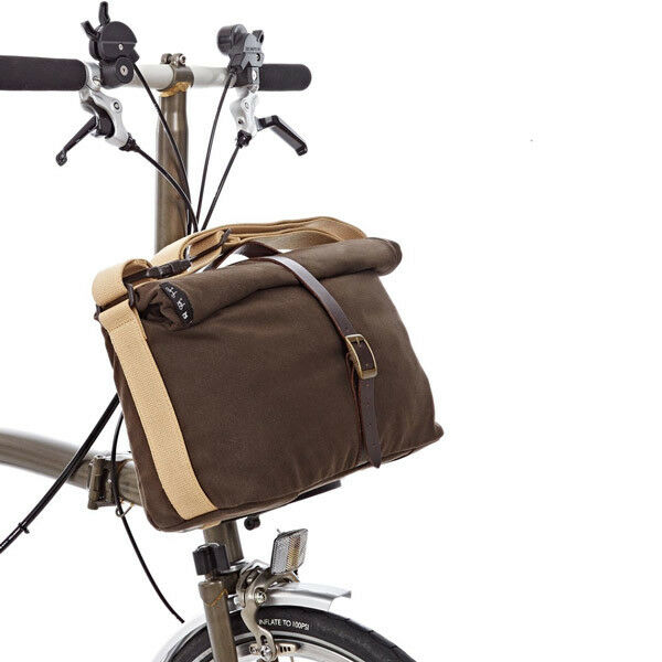 BROMPTON Roll Top Bag + frame (Khaki waxed canvas)