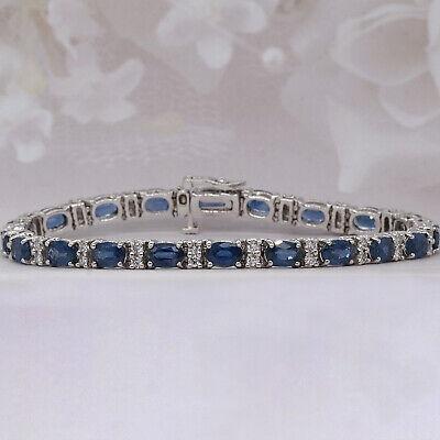 12 ct Cushion Cut Blue Sapphire and Diamond Tennis Bracelet 14k White Gold Over