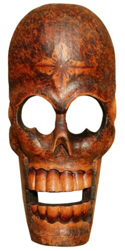 Schöne Totenkopf Holz Maske Kopf Afrika Gothik Handarbeit Bali Maske64