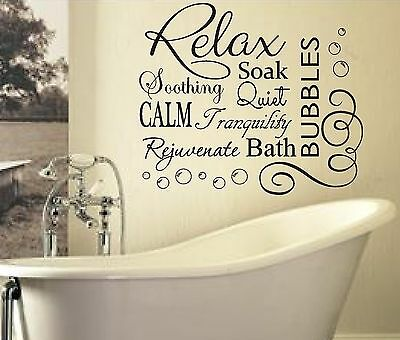 RELAX SOAK BUBBLES BATH AR QUOTE WALL ART STICKER DECAL VINYL DIY HOME BATHROOM