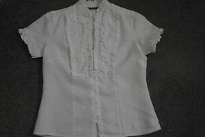 Autograph-New-York-100-linen-cream-blouse-size-S