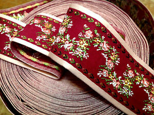 """Vintage Jacquard 1950s Ribbon  2"""" Fuchsia Pink Flowers Cotton 32"""" Made in USA"""