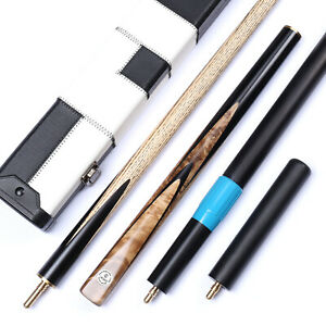 034-Grand-Cues-034-58-034-3-4-Jointed-Ash-Shaft-Black-Ebony-Handmade-Snooker-Cue-Set-YP46