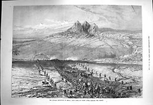 Original-Old-Antique-Print-1873-Russian-Expedition-Khiva-Siers-Crossing-19th