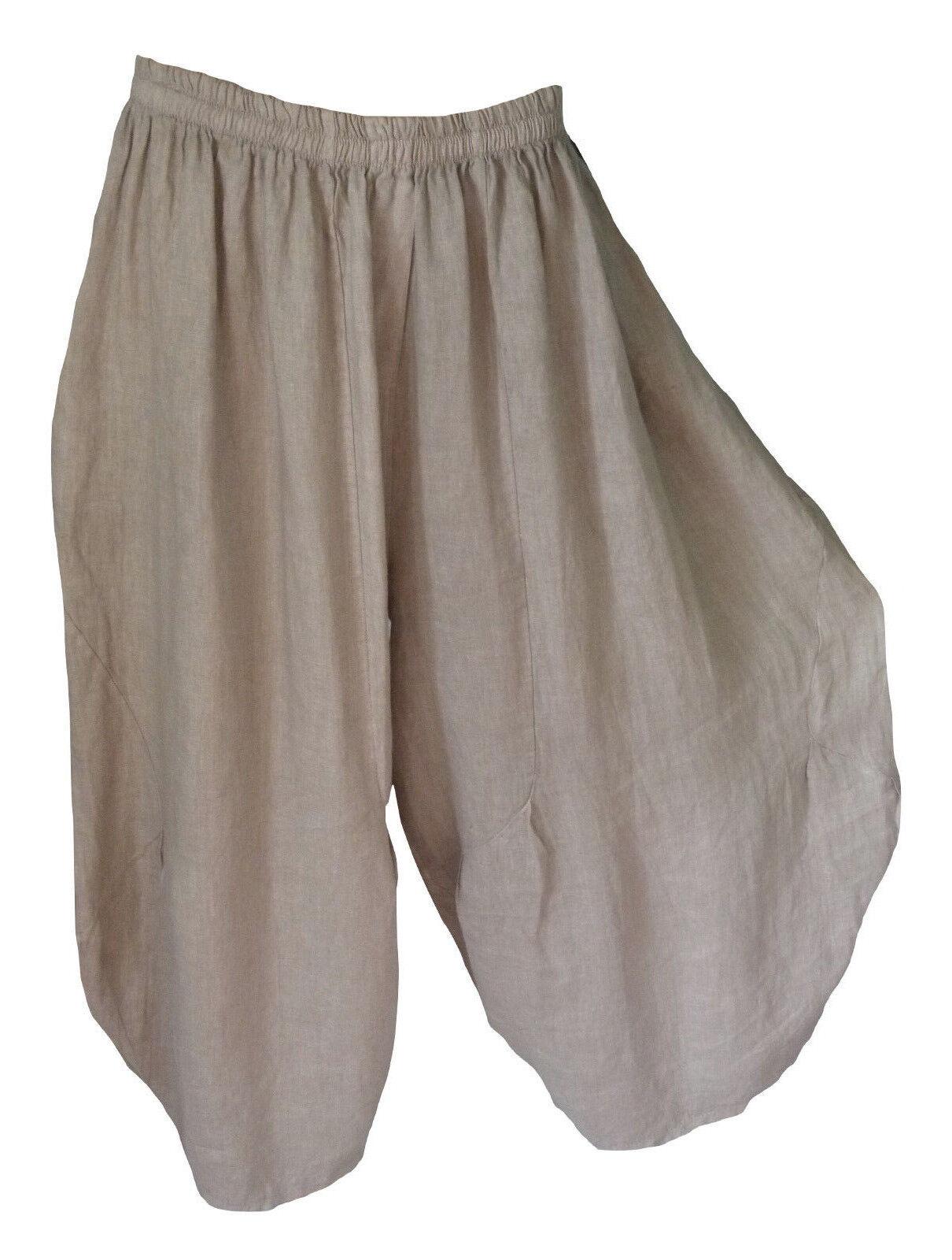 TG 46 48 50 50 50 52 54 56 Puro Lino Pantaloni Lino Pantaloni palloncino Pantaloni Mega lontano Lagenlook 88b960