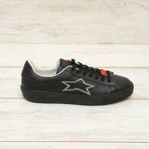ISHIKAWA-sneakers-light-Uomo-pelle-nera-fondo-nero-stella-inverno-2019
