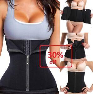 UK Top Women Zipper Rubber Waist Trainer Weight Loss Slim Corse