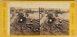 Italia-Napoli-Il-Port-c1865-Foto-Stereo-Sommer-Vintage-Albumina