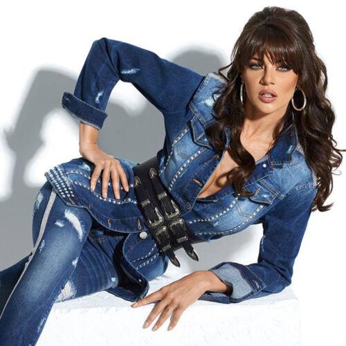 By Alina Giacca Jeans longjacke Donna Giacca Blazer STRASS BORCHIE BLU XS-M