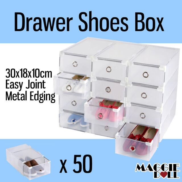50x NEW Clear Plastic See Through Drawer Shoe Storage Box Metal Edge 30x18x10cm