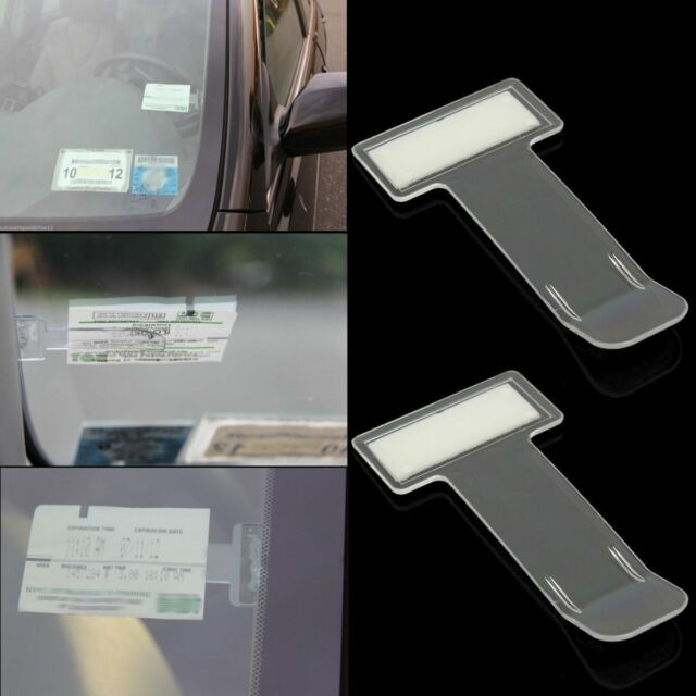 2Pcs Car Vehicle Parking Ticket Permit Holder Clip Sticker Windscreen Window Kit